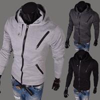 Wholesale Korean Fashion Sport - 2015 Hot sale Fashion Casual Mens Hoodies autumn winter Korean casual hooded sport many zippers jacket slim men's coat