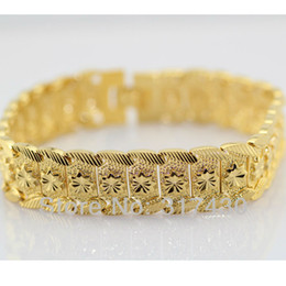 "Wholesale Massive Jewelry - Free shipping Massive 24K Yellow gold GF bracelet Solid Watch chain 8""13MM WIDE GF jewelry New arrival"