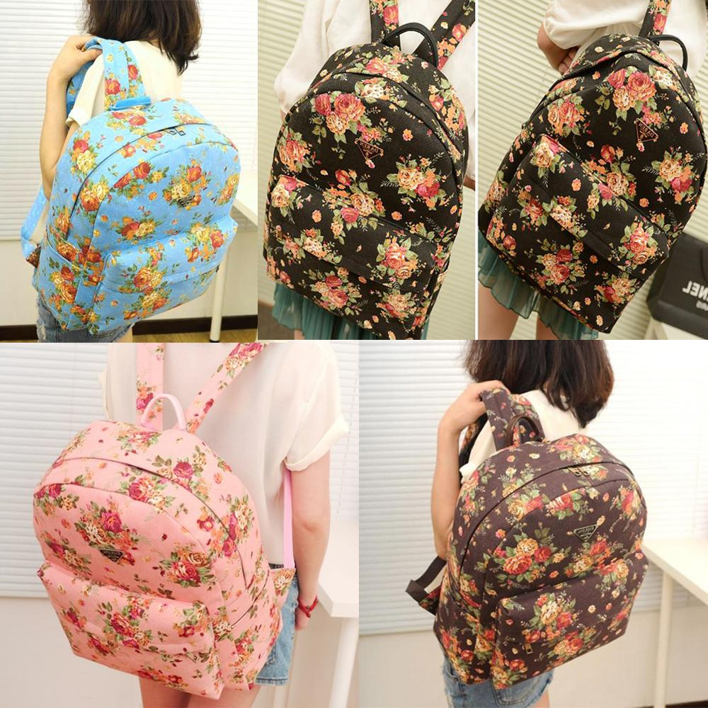 Women/Girl'S Country Style Floral Pattern Canvas Backpack ...