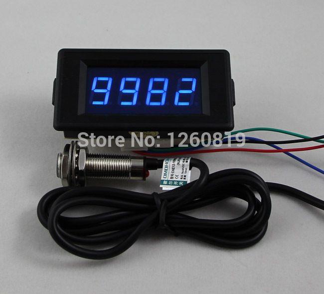 DC 12V 24V 4 Digital Blue LED Counter Meter Up Down Hall Proximity Switch  Sensor