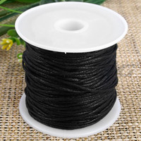 black cotton cord roll - Roll Black Waxed Cotton Necklace Beads Cord String mm HOT