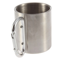 Wholesale China Outdoor Equipment - Wholesale-1pc 220ml Outdoor Stainless Steel Coffee Mug Travel Camping Cup Carabiner Aluminium Hook Double Wall Camp Equipment