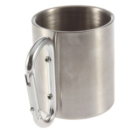 Wholesale Stainless Steel Camping Equipment - Wholesale-1pc 220ml Outdoor Stainless Steel Coffee Mug Travel Camping Cup Carabiner Aluminium Hook Double Wall Camp Equipment