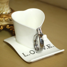 Wholesale Love Heart Coffee Cup - Wholesale-2pcs sets Heart Love Ceramic Cup Coffee Cup Milk Cup Lovers Mug Gift DropShipping Birthday Gift,Christmas Gift