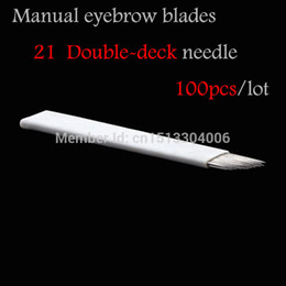 $enCountryForm.capitalKeyWord Australia - Wholesale-100Pcs 21-pin Needle Slope Permanent Makeup Eyebrow Double-deck Blades For Make up Manual Pen Tattoo Machine Free Shipping
