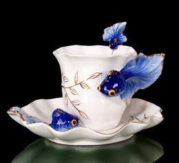 Wholesale Enamel Cups - Wholesale-High-quality Porcelain Enamel Coffee Cup Ceramic Mug Set Angletere Fashion Tea Cup Birthday Gift,Christmas Gift