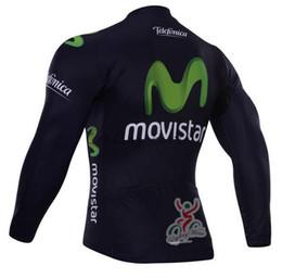 Wholesale Movistar Long Sleeve - Wholesale-Free shipping! Movistar 2015 long sleeve autumn bib cycling wear clothes bicycle bike cycling jersey bib pants set+gel pad