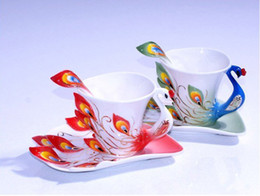 Wholesale Wholesale Ceramic Peacock - Wholesale-Free Shipping Super Porcelain Enamel Mugs Peacock Coffee Cup Fashion Ceramic Colored Drawing Creative Tea Cup