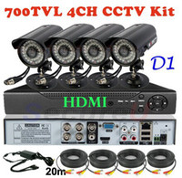 Wholesale Dvr Security Camera System Cheap - Best 4ch channel cctv security kit cheap home business surveillance alarm thermal system 700TVL video monitor camera D1 HD DVR