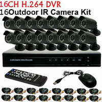 Home Security 16CH H.264 Surveillance Network DVR Giorno Notte Kit fai da te fotocamera impermeabile CCTV Video Mobile System View freeshipping