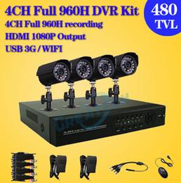Wholesale Surveillance Outdoor Camera 3g - CCTV Security Camera System 4CH 960H D1 3g DVR 480TVL Outdoor Camera DIY Kit Video Surveillance System 4channel + Free shipping