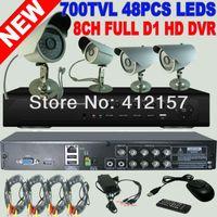 Wholesale Long Range Led Cameras - Security 8CH Realtime D1 HD HDMI DVR 4pcs 4CH 700TVL 48pcs LED Long Range Cold Resistant Waterproof Camera DVR HVR NVR System