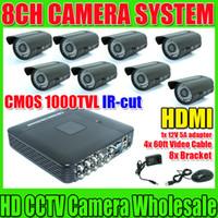 Wholesale Kit Full D1 Dvr - HDMI 1920*1080 Security CCTV System 8ch CCTV DVR Recroder Full D1 recording CMOS 1000TVL Waterproof IR Camera DVR Kit