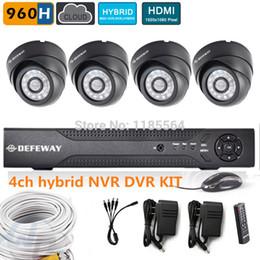 Wholesale High Resolution Cctv Systems - high resolution 4CH full 960h CCTV Security Camera System hybrid DVR NVR KIT HD 600TVL dome Camera Video Surveillance System