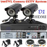 Wholesale 2ch Surveillance Camera - Sale 2ch cctv kit security surveillance alarm system 700TVL thermal video hd camera 4ch D1 DVR digital video recorder HDMI 1080P