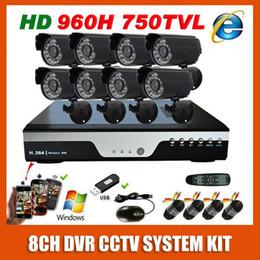 Wholesale Mini Bullet Cams - 8 Channel CCTV Kit 960H Effio 750TVL OSD Waterproof Video Surveillance Cam 8CH Home black Mini Bullet Security Camera System