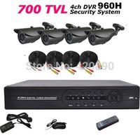 Wholesale Dvr Ch Recorder Hdmi - Free Shipping 4 CH DVR Kit 1080P HDMI FULL D1 CCTV DVR Recorder 4pcs IR Night Vision Camera System Kit