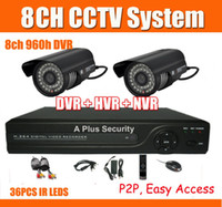 Wholesale Dvr 6mm - 8ch 960H CCTV System 1080P HDMI Output NVR Kit 6mm Lens 2pcs 480tvl CCTV Camera DVR Kit P2P Cloud easy visit Support Onvif 2.0