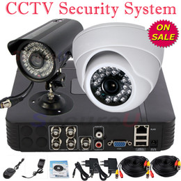 Wholesale Best Digital Surveillance System - On sale best 2ch cctv security kit dome bullet digital thermal camera complete home surveillance system 4ch DVR video recorder