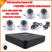 Wholesale Standalone Dvr Security Camera System - Surveillance Security Camera CCTV System Standalone Kit 4 Channel CCTV HVR DVR NVR AHD DVR 4pcs 800TVL Audio Dome Indoor Camera