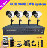 Wholesale Home Dvr Ch - Home 8 CH CCTV surveillance Camera DVR System 4 x 700 TVL dome Night vision Cameras 8 channel Kit for home video security