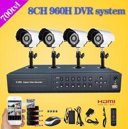 Wholesale Dvr Kit Ch - Home 8 CH CCTV surveillance Camera DVR System 4 x 700 TVL dome Night vision Cameras 8 channel Kit for home video security