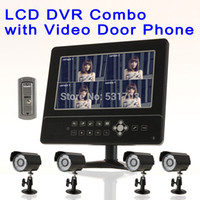 "Wholesale Lcd Dvr Surveillance Cctv Recorder - Newest 9"" LCD DVR Video Recorder 4ch Surveillance Cameras Monitor Security Alarm 2ch Video door phone Home Security CCTV Systems"