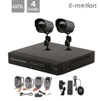 Wholesale Dvr Mobile Surveillance 4ch - Free shipping!4CH Outdoor CCTV DVR Security System surveillance kit for home,multi-language,2 x 420TVL Cam,mobile and IE view