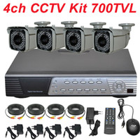 Wholesale Dvr Cctv Complete Security System - Complete 4ch indoor outdoor waterproof cctv kit surveillance system install security camera full D1 DVR digital video recorder