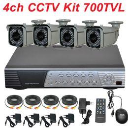 Wholesale Dvr Recorder 4ch Kit - Complete 4ch indoor outdoor waterproof cctv kit surveillance system install security camera full D1 DVR digital video recorder
