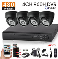 Wholesale Dvr Mobile Surveillance 4ch - 480TVL cctv camera kit home video Surveillance 4ch 960h dvr system 960H dvr Recorder Mobile Phone view hdmi 1080p