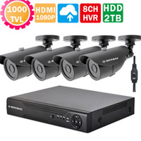 Wholesale Camera Cctv 42 Leds - 8CH CCTV System 1080P 720P CCTV DVR 4PCS 1000TVL IR Outdoor security Camera 42 LEDs Home Security video Surveillance Kit+2TB HDD