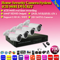 Wholesale Waterproof 3g Security Camera - Home CCTV Security system 4CH 960H DVR kit 700TVL Outdoor Waterproof IR Cameras DVR Recorder CCTV Security 3G,WiFi,Cloud server