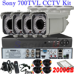 Wholesale Hard Disk Audio - 4ch cctv security surveillance kits audio alarm system 700TVL board zoom lens camera 4ch HD D1 DVR HDMI with 2TB HDD hard disk