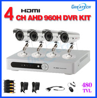 Wholesale Dvr Cctv Complete Security System - home CCTV kit 4CH AHD 960H DVR IR outdoor waterproof Security Camera kit surveillance system CCTV Complete system Free shipping