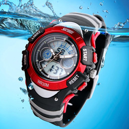 Wholesale Dual Time Boy Sports Watch - Wholesale-Fashion children's watches LED Digital Watch Dual Time Multifunctional 30m Waterproof Swim for Boys Sports Watch kids watches