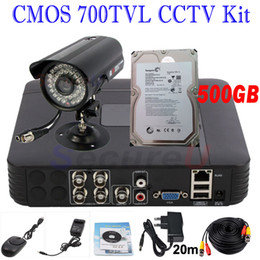 Wholesale Hard Disk Camera Security System - Best CCTV security kit system install home business surveillance 700TVL bullet outdoor camera 4ch D1 HD DVR 500GB HDD hard disk