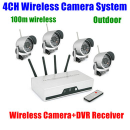 Wholesale Dvr Receiver 4ch - 4CH Cameras Wireless DVR Receiver kit wifi Quad Video Audio CCTV Home Security camera System Nightvision Waterproof Outdoor