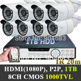 Wholesale 8ch Dvr Mobile Audio - 1000TVL Hi-Resolution Outdoor Video CCTV bullet Cameras System w 1TB HDD 8CH 960H DVR P2P plug and play video audio mobile view
