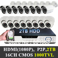 2TB HDD enthalten, 1/3 '' CMOS 1000TVL 16CH (8 8 Indoor Outdoor) Security CCTV-Kameras DVR-System-Kit 1080P HDMI P2P