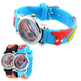 Wholesale Watch Spider - Wholesale-Hot New Fashion Rubber Blue Cartoon Child Boys Kid Chilren Analog Quartz Spider Man Marvel Wrist Watch