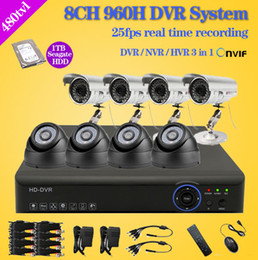 Wholesale Dvr Kit Hard Drive - Home 8CH CCTV Security camera set day night 480tvl Camera with 8channel DVR Kit 1tb hard drive Color Video Surveillance System