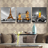 Wholesale Paris Art Canvas - 3 Panel Modern Paris Effiel Tower Painting Picture City Building Bridge Landscape Painting Canvas Wall Art No Frame PR119