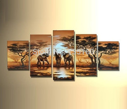 Discount floral oil paintings - Hand Painted Oil Painting Abstract Landscape African Painting Canvas Elephants Giraffe Pictures Modern Room Decor 5PCS W