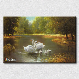 Discount floral oil paintings - Swan oil painting print canvas animal prints the symbol of beauty hang in the living room or bedroom gift for girlfriend