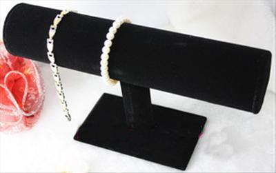 Black Velvet T-Bar Bracelet Watch Jewel Display Stand