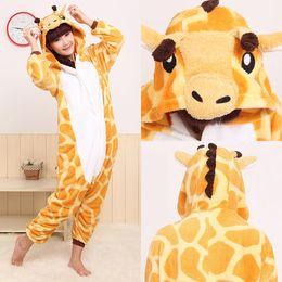 Wholesale Giraffe Halloween Costume Adult - Plus Size Adult Polar Fleece Giraffe Pajamas  Jumpsuit  Halloween Costumes for Women  Onesie  Anime Cosplay for Adults