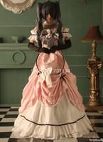 trajes de ciel al por mayor-Traje negro anime de Kuroshitsuji Ciel Phantomhive en Japón Disfraces de disfraces de color rosa fuera del hombro Cosplay de Anime en el hombro