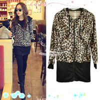 Wholesale Leopard Zip Up Coat - New Sexy Women's Slim Leopard Jacket Hooded Zip Up Coat long Sleeve Tops free shipping