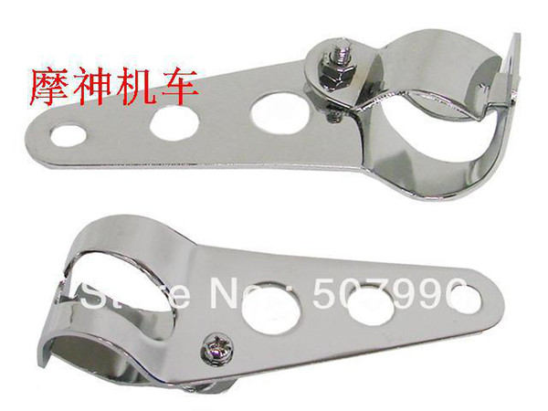 Free shipping 1 Pair Chrome Headlight Mount Brackets Fork Ears Motorcycle Bobber Cafe Racer 33mm - 43mm D-908